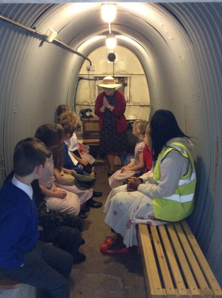 Seeking shelter during an air raid.
